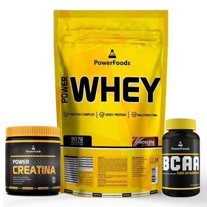 Kit Power Whey 907g com PowerBCAA 60cáps mais Power Creatina 100g