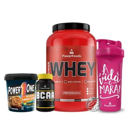 Kit Power Whey Pote + PowerBCAA + Pasta de Amendoim + Coqueteleira