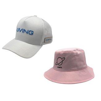 Kit Praia C/ Boné Trucker Aba Curva Telinha Living E Chapéu Bucket Hat