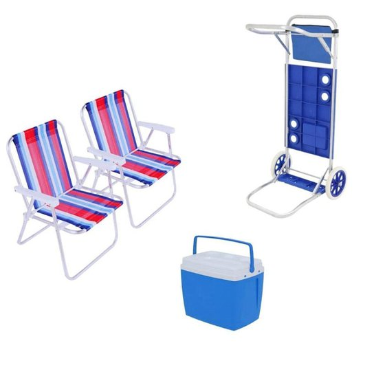 Kit Praia Caixa Térmica 18L + 2 Cadeiras + Carrinho Mesa Bel - Única