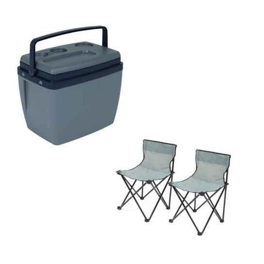 Kit Praia Pesca Caixa Térmica 34L + 2 Cadeiras dobráveis Bel - Única
