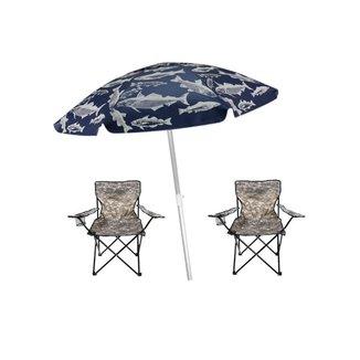 Kit Praia/Camping Guarda Sol 1,60M + 2 Cadeiras Bel Lazer