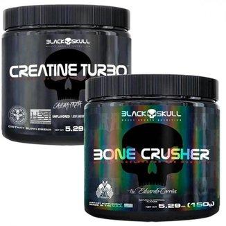 Kit Pré Treino Bone Crusher (150g) + Creatina Turbo (150g) - Black Skull-Uva