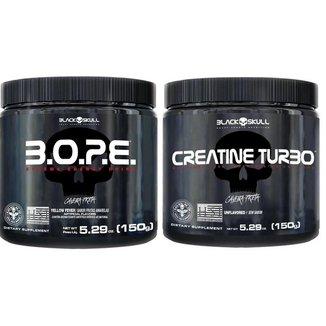 Kit Pré Treino Bope (150g) + Creatina Turbo (150g) - Black Skull -Frutas Amarelas