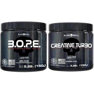 Kit Pré Treino Bope (150g) + Creatina Turbo (150g) - Black Skull -Limão