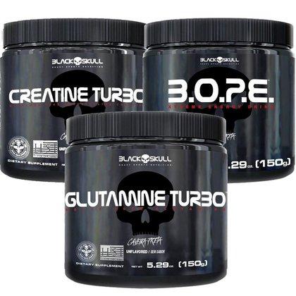 Kit Pré Treino Bope (150g) + Creatina Turbo (150g) + Glutamina Turbo (150g) - Black Skull-Frutas Am