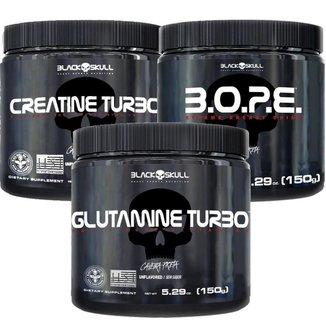 Kit Pré Treino Bope (150g) + Creatina Turbo (150g) + Glutamina Turbo (150g) - Black Skull-Frutas Ve