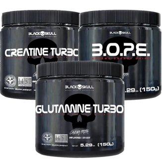 Kit Pré Treino Bope (150g) + Creatina Turbo (150g) + Glutamina Turbo (150g) - Black Skull-Limão