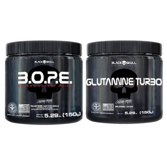Kit Pré Treino Bope (150g) + Glutamina Turbo (150g) - Black Skull -Frutas Amarelas