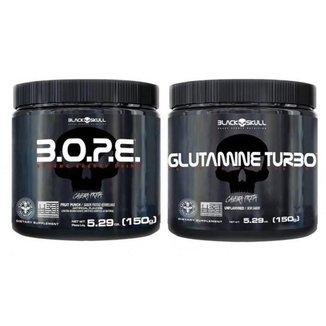 Kit Pré Treino Bope (150g) + Glutamina Turbo (150g) - Black Skull -Frutas Vermelhas
