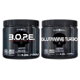Kit Pré Treino Bope (150g) + Glutamina Turbo (150g) - Black Skull -Limão
