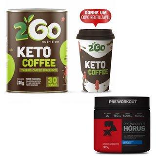 Kit Pré-Treino Horus Max Titanium 300g Blue Ice + Keto Coffee 240g 2GO 30 Doses + Copo