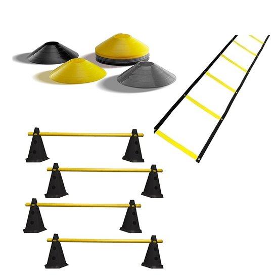 Kit Premium 1 Escada + 12 Half Cone + 8 Cones Com - Preto+Amarelo