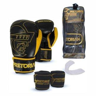 Kit Pretorian Luva Boxe Muay Thai  + Bandagem + Protetor Bucal