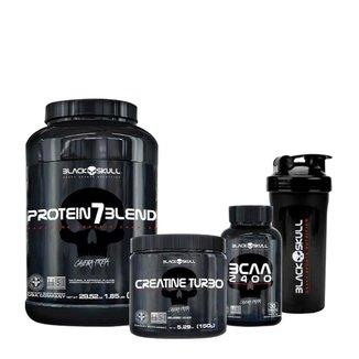 Kit Protein 7 Blend 837gr + Creatina Turbo 150gr + BCAA 30 tabs + Coqueteleira- Black Skull