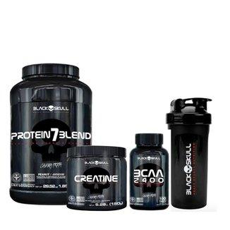 Kit Protein 7 Blend 837gr+BCAA 2400 100 tabs+Creatine 150g + Coqueteleira - Black Skull