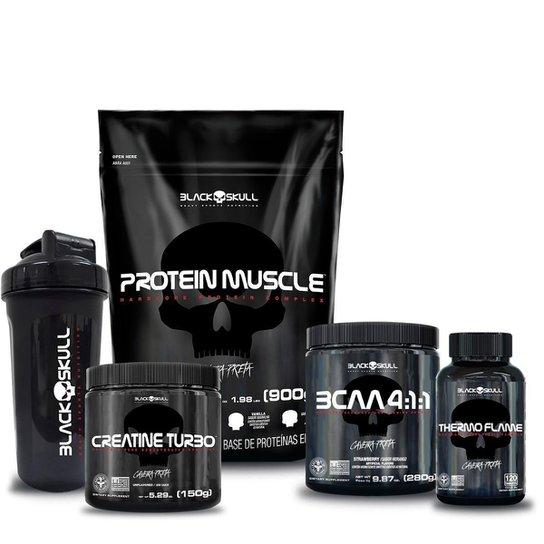 Kit Proteína 900g + Bcaa Morango 280g + Creatina 150g + Termo 120 cap + shaker -