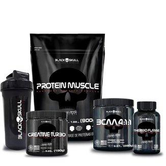 Kit Proteína 900g + Bcaa Morango 280g + Creatina 150g + Termo 120 cap + shaker