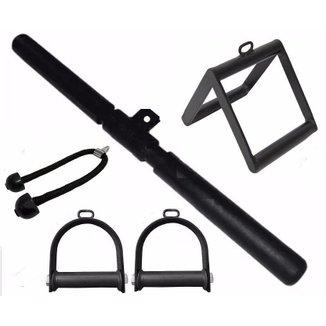 Kit Puxadores Musculação Academia Triângulo Reto Estribo E V