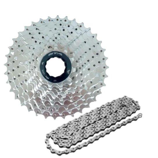 Kit Relação Cassete E Corrente De 9v Para Bicicleta - Sortido