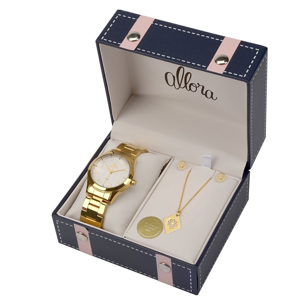 8c68894b97d Kit Relógio Allora Feminino Flores Geométricas - Compre Agora
