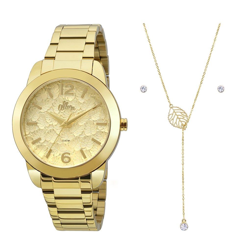 Kit Relógio Allora Feminino Folhagens - Compre Agora   Netshoes 040d169259