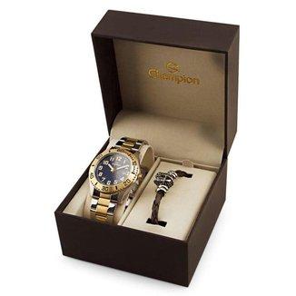 Kit Relógio Champion Masculino Dourada e Semi-Joias - CA31506K