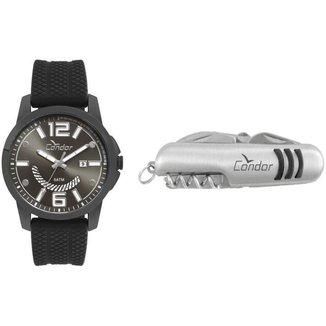 Kit Relógio Condor Analógico CO2115KTL/K2C + Canivete Masculino