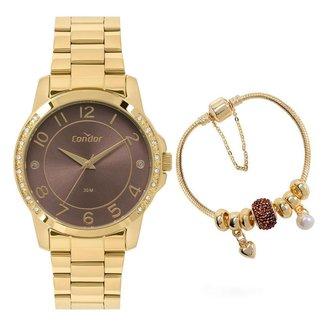 Kit Relógio Condor Fashion Dourado COPC21AEEYK4M Feminino