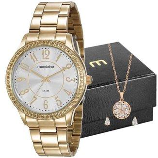 Kit Relógio Feminino com Colar e Brinco Mondaine 99363LPMVDE1K3