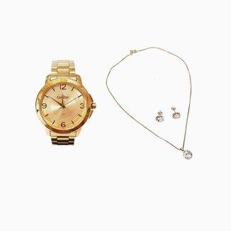 Kit Relógio Feminino Condor + Colar e Brincos COP
