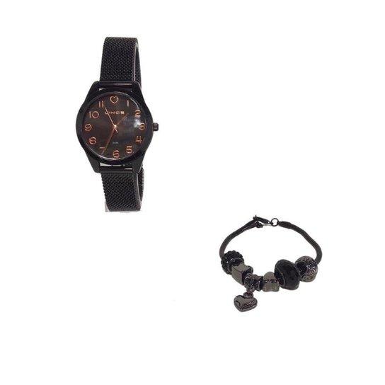 Kit Relógio Lince Analógico LRN4625L KE22 com Pulseira - Preto