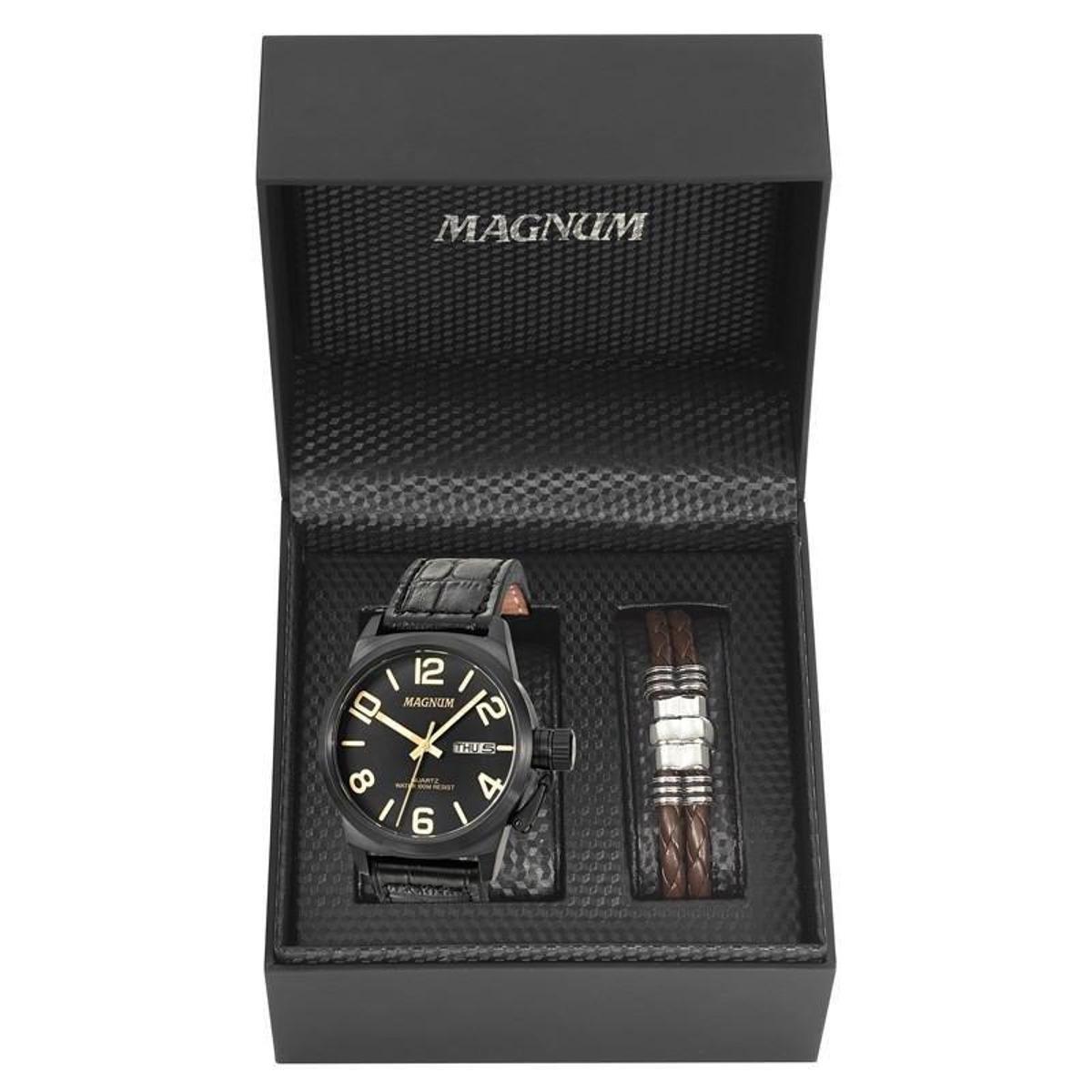 d0bd74d5050 Kit Relógio Magnum Masculino - Preto e Marrom - Compre Agora