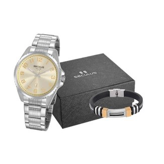 Kit Relógio Masculino Analógico Prata Seculus - 20855G0SVNA4K1
