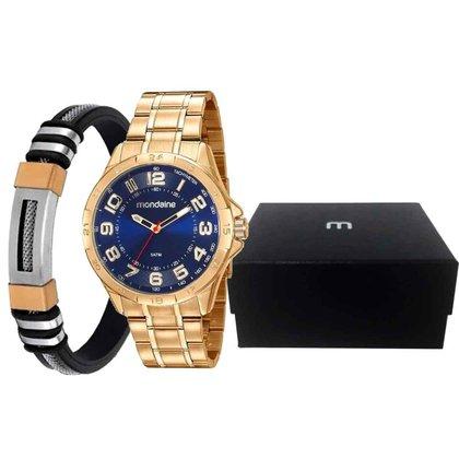 Kit Relógio Masculino Dourado/Azul com Pulseira Mondaine