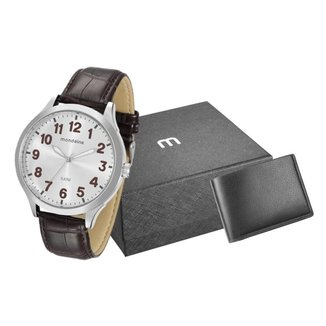Kit Relógio Masculino Mondaine Analógico Marrom - 76659G0MVNH4K2