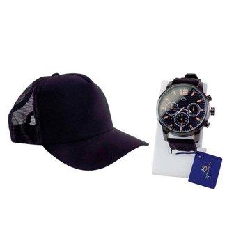 Kit Relógio masculino quartz orizom + Boné