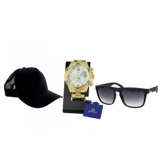 Kit Relógio Orizom dourado Masculino + Boné + Óculos