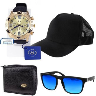Kit Relógio Orizom Masculino + Boné + Óculos + Carteira