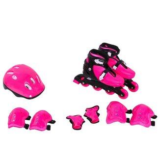 Kit Rollers Radical Ajustável Rosa (M 32-35)