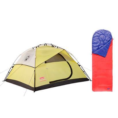 Kit Saco de Dormir Fiesta Sem Capuz e Barraca Para 4 Pessoas Instant Dome 4