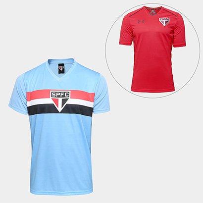 Com o Kit São Paulo Camisa Celeste + Camisa de Treino 17 18 Under Armour 99335df754b97