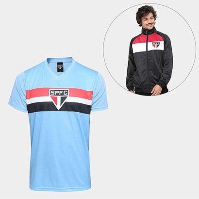 Agite as arquibancadas em grande estilo boleiro com o Kit São Paulo Camisa Celeste + Jaqueta Trilobal Gregory 17 Masculi...