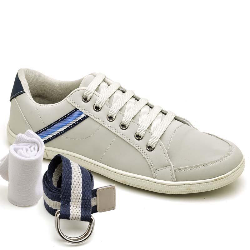 e Meia Off Kit Cinto Sapatênis com Dexshoes White Casual pcwZaP46