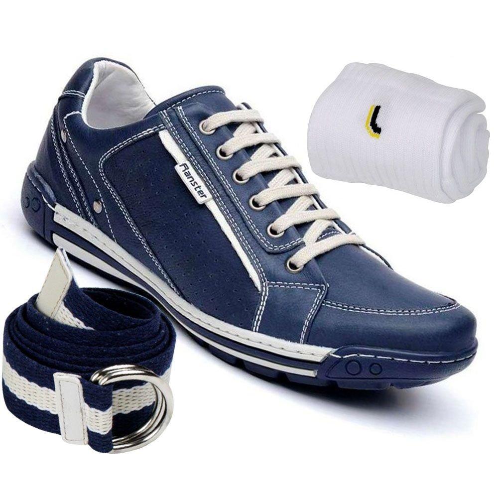 533608dd73 Kit Sapatênis Ranster Confortável em Couro + Cinto e Meia Lupo - Azul -  Compre Agora