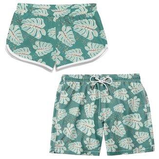 Kit Short Bermuda Namorados Com Etampa Verão Moda Praia TSM Tactel Casual