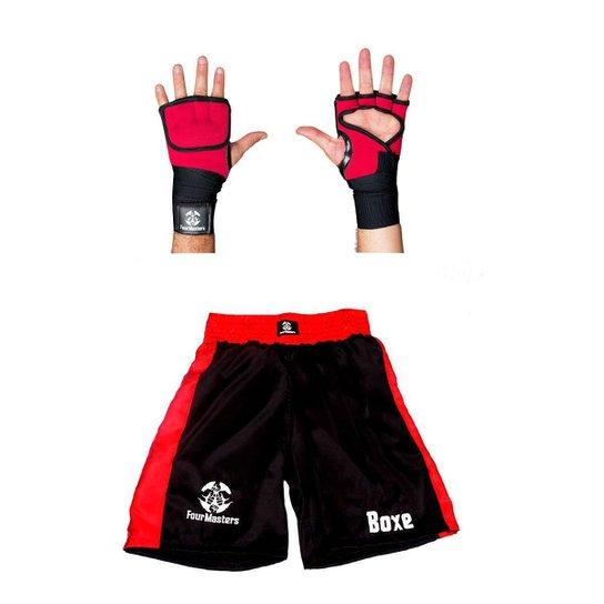 Kit Short Calção de Boxe + Luva de Atadura / Bandagem Rápida - Vermelho