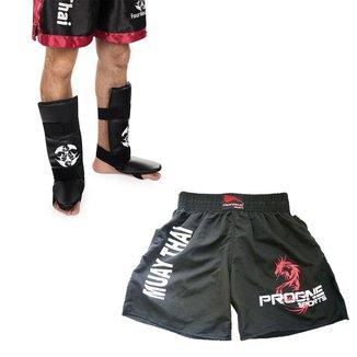 Kit Short Muay Thai Masculino + Par Caneleira Muay Thai C/pé Protetor Canela Mma Kickboxing