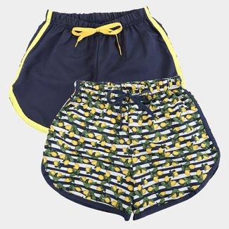 Kit Shorts Infantil Candy Kids Tactel 2 Peças Feminino