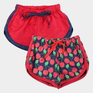 Kit Shorts Infantil Candy Kids Tactel+Moletinho 2 Peças Feminino